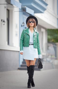 fall outfit ideas, biker jacket outfit, mango biker jacket, mini skirt outfit, over the knee boots outfit,