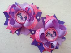 My Little Pony Twilight Sparkle Piggy Bows -My Little Pony Birthday Hair Bows -My Little Pony Boutique Stacked Piggy Bows by DLovelyBOWtique on Etsy https://www.etsy.com/listing/206934106/my-little-pony-twilight-sparkle-piggy