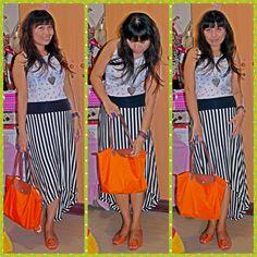 Top andskirt-forever 21,bag-longchamp,accessories-qup,sandal-vincci