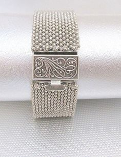 silver beaded bracelet  seed bead beadwork bracelet boho beaded jewelry filigree box clasp biker chick jewelry peyote cuff