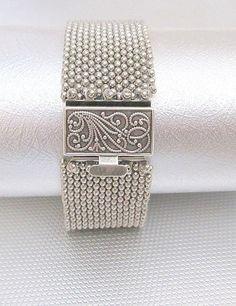 beaded bracelet silver beadworkwork cuff bracelet beaded jewelry seed bead