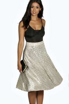 Boutique Coco Metallic Full Midi Skater Skirt alternative image