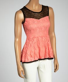 Coral & Black Lace Peplum Top by I.C.U. collection