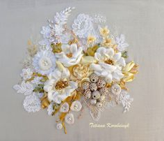 """Picture """"Luxury White"""" , made of Silk ribbon embroidery  technique, gift,ribbonwork,flowers,wedding"""