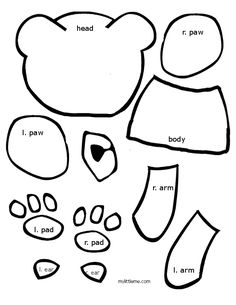 brown bear pattern pieces