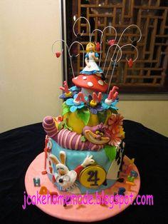 Jcakehomemade: Alice in wonderland birthday cake. For her first.. Amazing !
