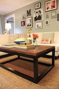 I want to make myself a coffee table top like this one - using the old black coffee table base we already have.