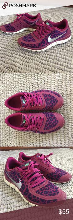 Nike Free 5.0 Nike free run 5.0 magenta and navy blue cheetah print Nike  Shoes Athletic