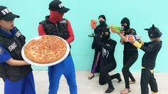 Polícia correr atrás Homem Aranha Preto Ladrao Gigante Pizza Surpresa Br...