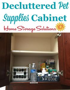 Decluttered pet supplies cabinet, shown by Tina, who did the #Declutter365 mission on Home Storage Solutions 101 #Declutter #Decluttering