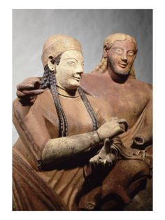 The Etruscan Sarcophagus of the Spouses (detail) displayed at Louvre Museum, Paris