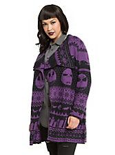 The Nightmare Before Christmas Fair Isle Girls Flyaway Cardigan Plus Size, PURPLE
