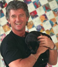 Patrick Duffy with kitty friend. Has anyone ever looked better on horseback? Lucky for us, Dallas is back!