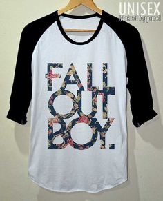 FOB Shirt Fall Out Boy Flower Vintage T- Shirt Sleeve Baseball Unisex Size S M L from iNakedapparel on Etsy. Fall Out Boy, Band Merch, Band Shirts, Band Outfits, Cool Outfits, Look Cool, Vintage Flowers, Cute Shirts, Cool Bands