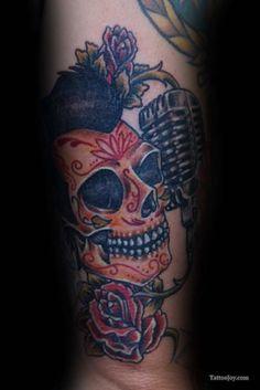 76cf5fc6d Sugar Skull with Mic Tattoo Mic Tattoo, Tattoo Shop, Skull Tattoo Design,  Tattoo