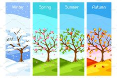 Stock Vector - Four seasons. Illustration of tree and landscape in winter, spring, summer, autumn Four Seasons Art, Four Seasons Painting, Weather Seasons, Winter Springs, School Projects, Kindergarten, Preschool, Spring Summer, Autumn