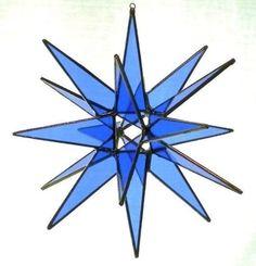18 Point Blue Moravian Star Glass Art by Joe by glassartbyjoe
