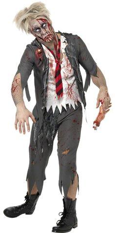 Disfraz de zombie para hombre, ideal para Halloween: Este disfraz de zombie para hombre se compone de una chaqueta con mangas de 3/4 y encaje, con camisa blanca integrada y huesos de látex cosidos en el pecho. El traje también incluye un...
