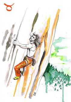 Climbing print of the original illustration Tenacious Taurus. Drawing Rocks, Bouldering Wall, Creature Of Habit, Escalade, Mountain Art, Kawaii, Pretty Art, Climbers, Taurus