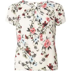 **Billie & Blossom Petite Ivory Floral Shell Top ($39) ❤ liked on Polyvore featuring tops, petite, white, white floral top, floral tops, shell tops, ivory top and floral print tops