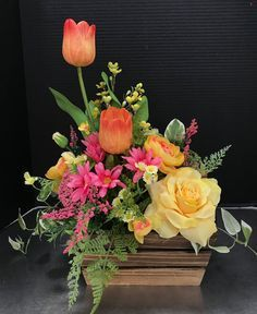 Vivid Spring Yellow and Pinks by Andrea I like this and it may be doable. I mean colour/flower wise Easter Flower Arrangements, Easter Flowers, Beautiful Flower Arrangements, Silk Flowers, Spring Flowers, Floral Arrangements, Beautiful Flowers, Ikebana, Floral Bouquets