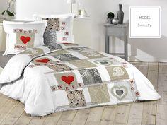 Bavlnené posteľné návliečky hnedej farby so srdiečkami