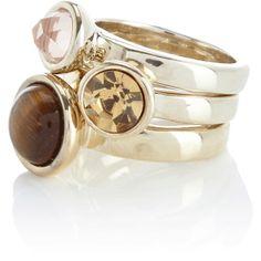 Multi Brown Tigers Eye Stack Ring