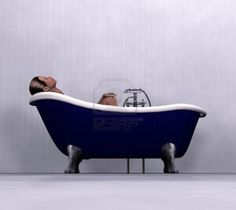 Beautiful Image Detail For  Woman Having Bath In A Blue Vintage Clawfoot Bathtub.  Royalty Free