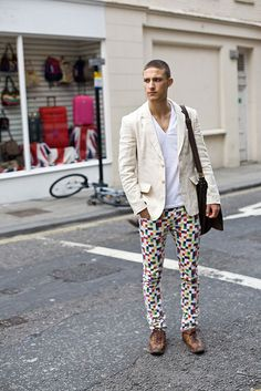 This is how you wear funky-patterned pants men.  Love this pair!!