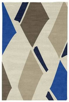 Judy Ross Hand-Knotted Custom Wool Diamonds Rug parchment/marine/iron/oyster/midnight
