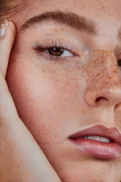 portrait of model with freckles