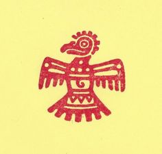 Aztec Thunderbird bird rubber stamp Mayan Mexican Indian