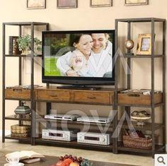 Modelos de explosión país de américa | muebles de hierro forjado | TV madera sólida combinación mueble librero antiguo estantería TV cabi