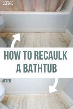 How To Recaulk A Bathtub is part of Diy home repair - Are the caulk lines on your bathtub cracked, peeling or discolored It may be time for you to recaulk! Learn how to recaulk a bathtub in this tutorial Diy Bathroom, Small Bathroom, Bathroom Caulk, Bathroom Ideas, Bathroom Cabinets, Painting A Bathroom, Bathtub Caulking, Bathroom Black, Bathroom Vanities