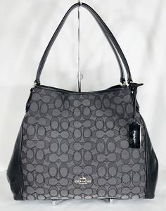 06cf6b8a42ff Coach Signature Edie 31 Shoulder Bag Purse Black Smoke 36466 Leather  Jacquard