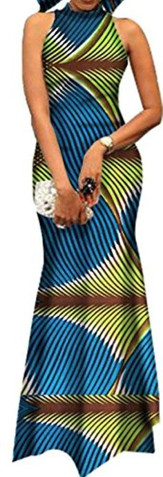 Oberora-Women Fashion Sleeveless African Tribal Printing Maxi Bodycon Dress Light L African American Fashion, African Print Fashion, Africa Fashion, Fashion Prints, African Wear Dresses, African Attire, African Outfits, Blazer Fashion, Fashion Outfits