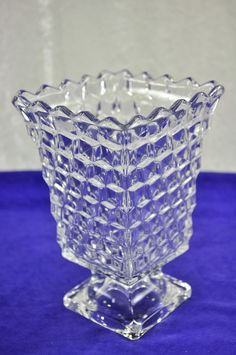 Fostoria glass, as most elegant glass, tends to feel silky smooth.  Fostoria also will glow under a black light.  FOSTORIA American Elegant Glass ~ Tall Standing Pedestal Urn Holiday Square Vase #Fostoria
