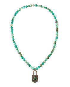 Agate,+Diamond+&+Emerald+Beaded+Padlock+Pendant+Necklace+by+Bavna+at+Neiman+Marcus+Last+Call.