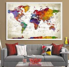 Custom push pin travel world map canvas watercolor gray countries push pin travel world map extra large wall art world map push pin world travels map office decor home decor travel map map art l45 gumiabroncs Choice Image