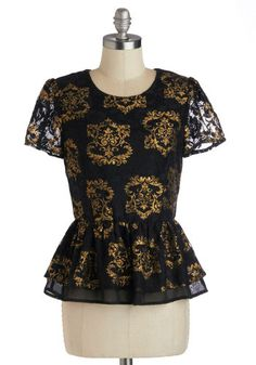 $53 Manor of Speaking Top - Black, Gold, Holiday Party, Peplum, Cap Sleeves, Mid-length, Print, Party, Cocktail, French / Victorian, Sheer