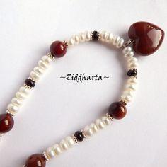 "SET Necklace Earrings OOAK ""Chocolate Heart"" Agate Heart Necklace Freshwaterpearls Swarovski  - Handmade Jewelry and Beadings by Ziddharta by Ziddharta on Etsy"