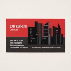 Elegant Unique Black Red Realtor Business Card - realtor real estate agent business diy personalize