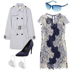 Colori classici, mix d'effetto... elegante e sobrio il pizzo con spolverino bianco. Tocco di colore su scarpe e occhiali...