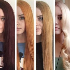 The realistic stages of lightening hair from dark to light.