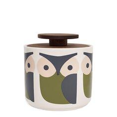 Orla Kiely Krukke, Owl, Bl�/Gr�n