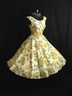 Vintage 1950's Lemon Yellow Chiffon Organza Party Dress