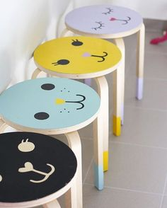 IKEA stool hacks are so much fun. Here's 9 ways to turn a plain IKEA children's stool into something a little bit special. Frosta Ikea, Banco Ikea, Hacks Ikea, Ikea Hack Kids, Hacks Diy, Ikea Stool, Stool Makeover, Painted Stools, Wooden Stools
