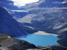 The view of Bow Lake from Cirque Peak in Banff NP