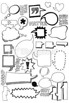Hand drawn doodles of speech bubbles in all shapes and sizes - Doodling - Sprechblase und Kritzeleien Lizenzfreies vektor illustration - Doodle Art, Doodle Drawings, Doodle Frames, Visual Note Taking, Doodles, Sketch Notes, Bullet Journal Inspiration, Ikon, Vector Art