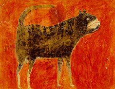 Bill Traylor (1854-1949) - Mean Dog. Circa 1939-1942.